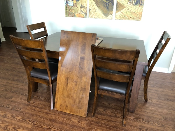 Beautiful wood kitchen table and chairs - Seats 6-8 2cb8ab7b-d0c2-44d2-bd9d-215d983d1fcd