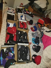 Air Jordan basketball shoes and cap lot