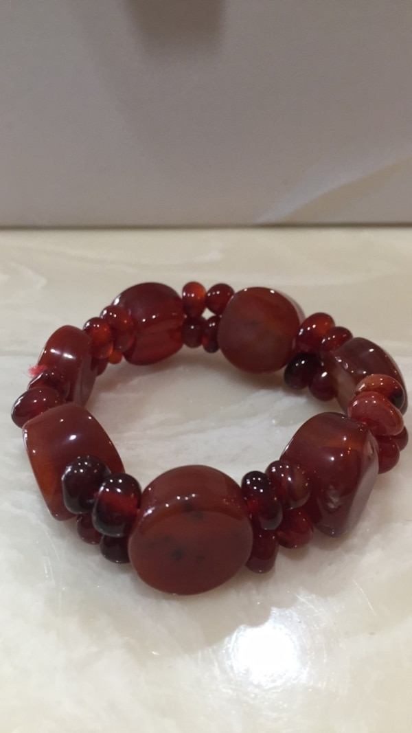 Red and black beaded bracelet stretchable