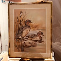 Vintage duck painting with frame excellent condition  Bohemia, 11716