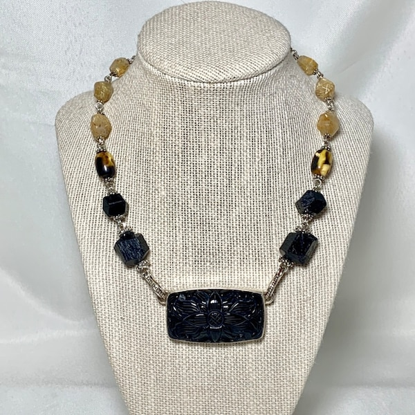 Authentic Stephen Dweck Sterling Silver Black Onyx Necklace 994fb20e-880d-41a5-8f17-25ac467325f9