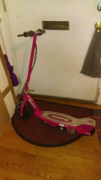 Pink and Silver Razor scooter