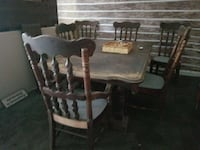 rectangular brown wooden table with six brown wooden windsor chairs dining set Wurtsboro, 12790