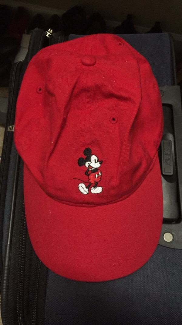Used red and black Mickey Mouse cap for sale in Douglasville - letgo bc5be2a8a48