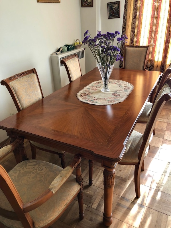 Grand Wood Carved Dining Table Set