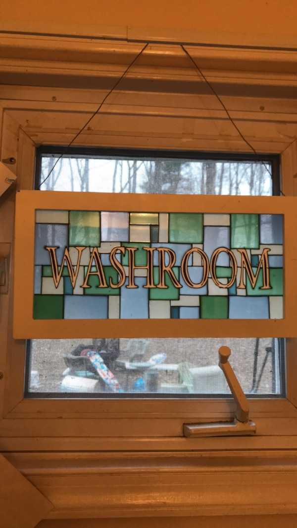 """Stained glass """"washroom"""" sign"""