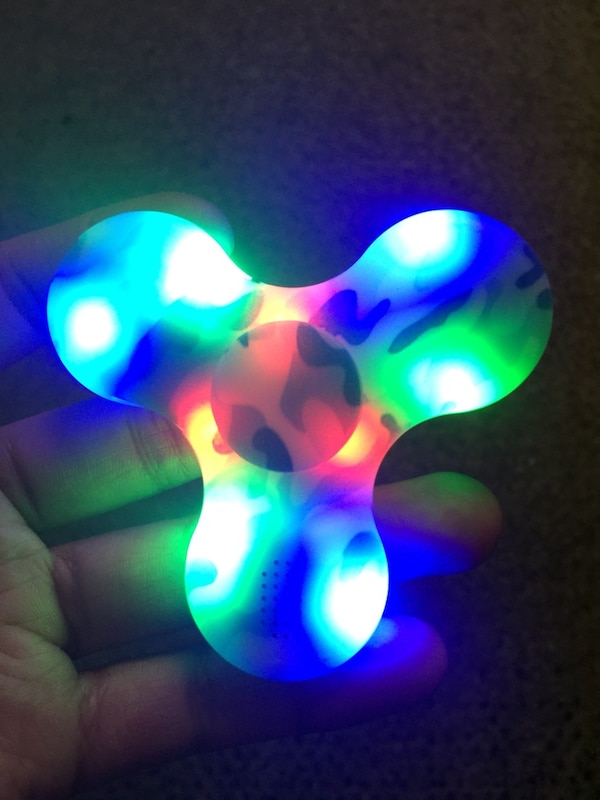 White and blue led BLUETOOTH fidget spinner