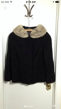 Vintage fox fur collar boiled wool jacket/coat