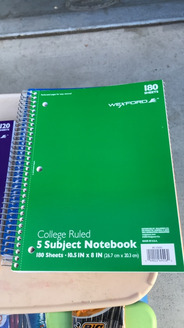 Wexforo college ruled 5-subject notebook NEW