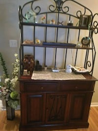 brown wooden baker's cabinet