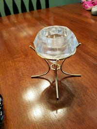 stainless steel and clear glass candle holder