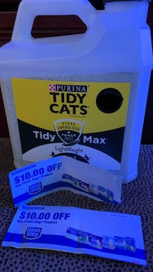 Cat litter and 2 $10 off coupon