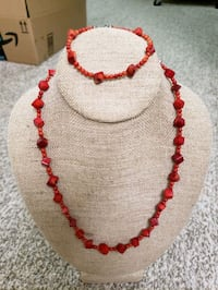 Red Coral necklace bracelet Set, new, never wear. Very unique.