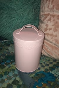 Decorative baby pink canister