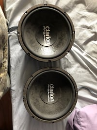 Two black clarion subwoofer speakers Selkirk, R1A