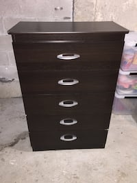 black wooden 5-drawer tallboy dresser Toronto, M3L