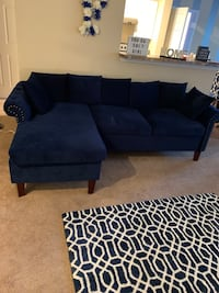 Navy Blue Suede Sectional Couch Charlotte, 28213