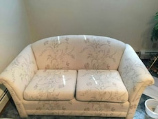 white floral micro-suede love seat