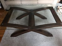 Solid WoodBase Coffee Table with thick 36 X 54 inch glass top. Awesome! Mechanicsville