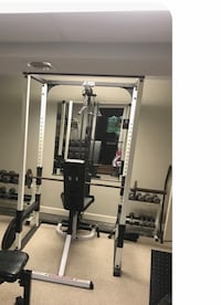 Power squat rack with lat  pull-down