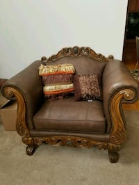 brown leather padded sofa chair Clinton, 20735