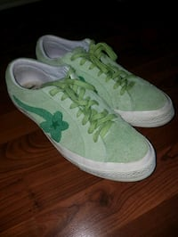 pair of green-and-white low top sneakers Columbus