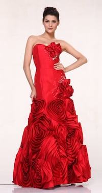 Prom Dress Strapless Taffeta Red Prom/Cocktail/Ball Gown Nauvoo, 35578