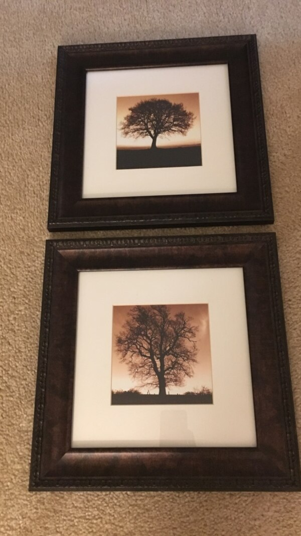 two tree paintings with black frames