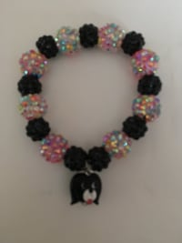 black and pink rhinestone beads with dog lampwork charm