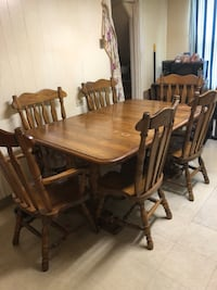 rectangular brown wooden table with six chairs dining set New Britain, 06051