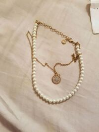 gold and white beaded necklace London, N5Y 1G7