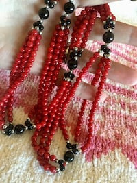 Red and black beaded necklace / Fashion jewelry high shine beads  Alexandria, 22311