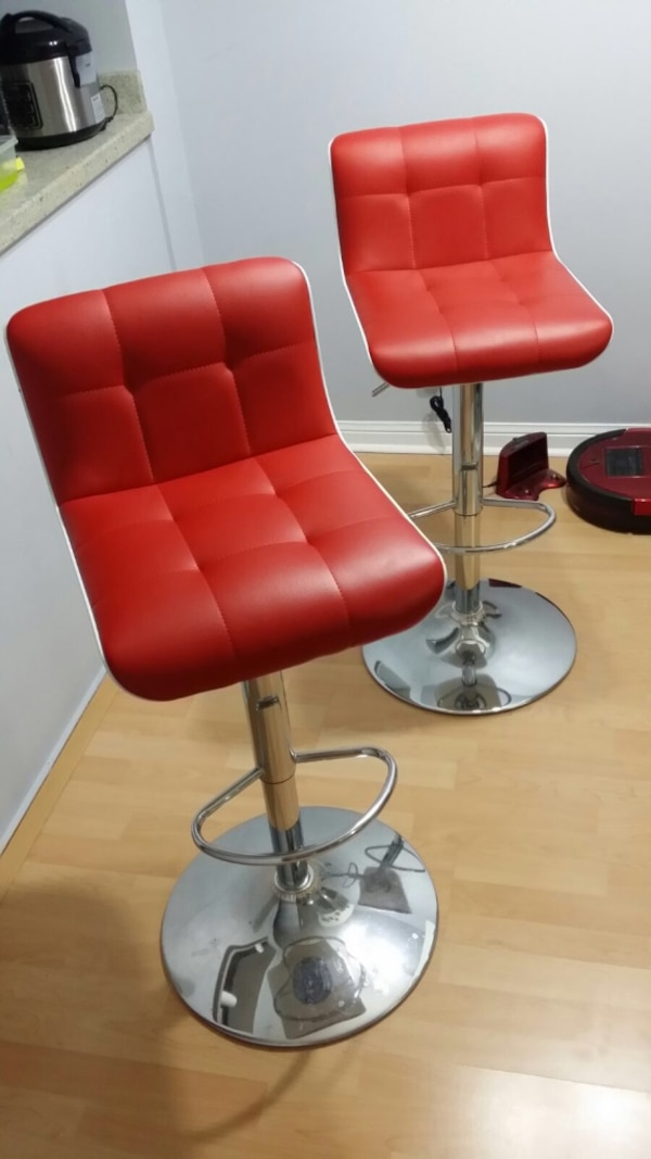 2 Red Leather Bar Stools