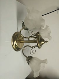 brass-colored and frosted glass 3-lighten pendant lamp