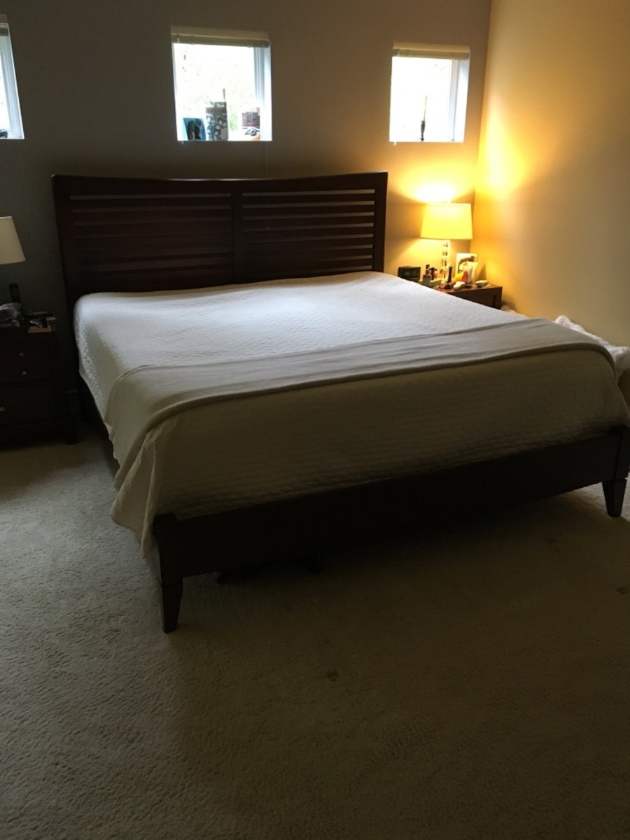 Used King Size Bed frame and headboard. Headboard is 6.5 ft long x ...