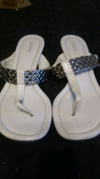 woman's sz 9 white leather rubber wedge sandals
