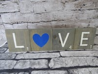 Love Scrabble Letter Wall or Shelf Home Decor Grey Tiles Blue Heart NEW Mission