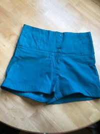 Blue fabric high-waisted shorts