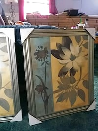 brown wooden framed painting of white flowers Stafford, 22554