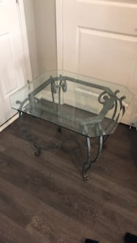 rectangular clear glass top table with gray metal base Oakville, L6H