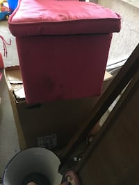 Pink foot stool with open inside.   Needs cleaned  Saint Thomas, 17252
