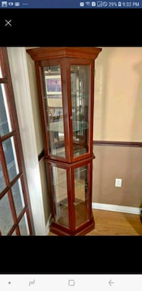 brown wooden framed glass display cabinet Mississauga, L5W 1E1