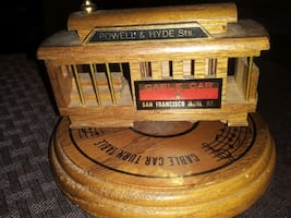 VINTAGE RARE WOODEN TRAIN CABLE CAR MUSICAL HANDCR