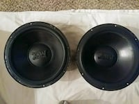 two black MTX subwoofers 12