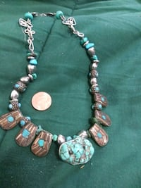 silver and pink beaded necklace 2316 mi
