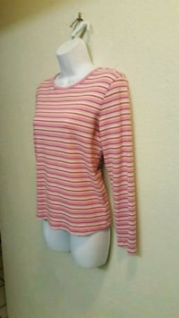 Women's Soft Long Sleeve Round Neck Pink Striped Top - M