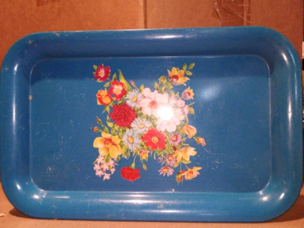 blue and pink floral ceramic plate