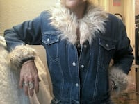Faux Fur trimmed denim jacket with quilted lining