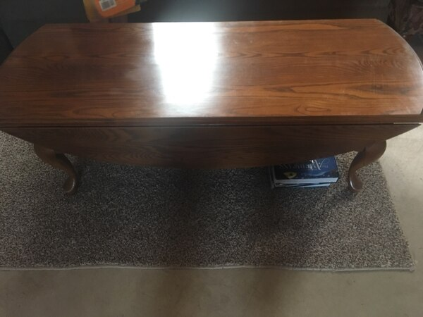 Used Nice Oak Drop Leaf Table And 2 End Tables Solid Oak 75 Firm