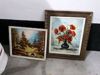 two brown wooden framed painting of flowers Pickering, L1V 6Z6